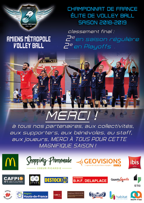 Amiens Métropole Volley Ball - Championnat Élite - Saison 2018-2019 - Merci pour cette magnifique saison !