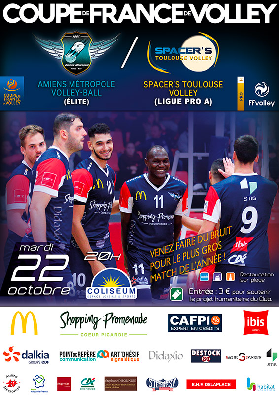 Amiens Métropole Volley Ball - Match AMVB / SPACER'S TOULOUSE - Coupe de France Professionnelle 2019-2020