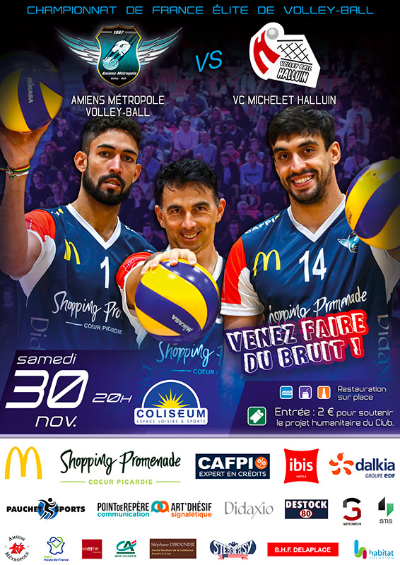 Amiens Métropole Volley Ball - Match AMVB / HALLUIN VOLLEY BALL - Championnat de France Élite 2019-2020