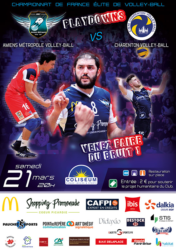 Amiens Métropole Volley Ball - Match AMVB / CHARENTON-LE-PONT - Championnat de France Élite de volley ball - Playdowns 2020